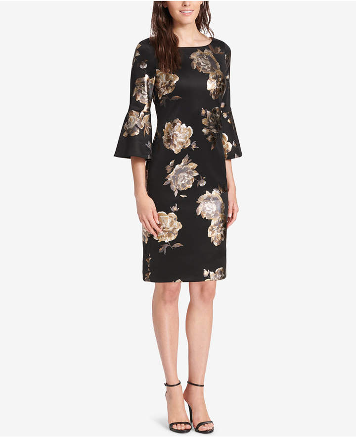 Jessica Howard Floral Bell-Sleeve Sheath Dress