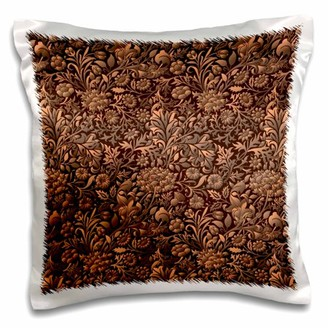 3dRose Copper Colored Tonal Effect Vintage Floral Chintz - Pillow Case, 16 by 16-inch