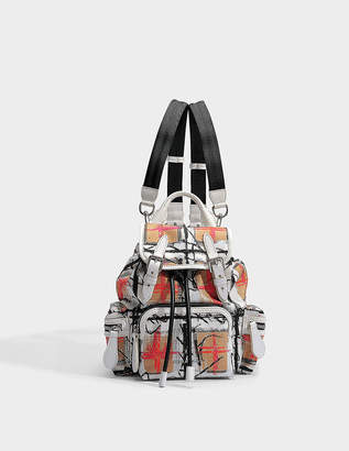 Burberry Small Vintage Check Disrupted Rucksack Backpack in Chalk White Canvas