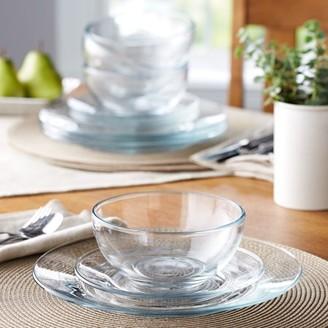 clear Mainstays 12-Piece Round Glass Dinnerware Set