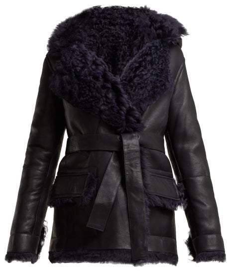 Sies Marjan - Rudy Hooded Shearling Jacket - Womens - Dark Blue