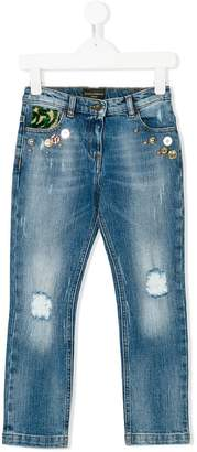 Dolce & Gabbana distressed embellished jeans