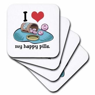 3drose 3dRose Funny I Love My Happy Pills Anti-Depressant Humor, Ceramic Tile Coasters, set of 4