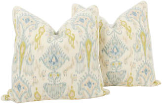 One Kings Lane Vintage Blue & Citrine Linen Ikat Pillows - Set of 2 - Ivy and Vine
