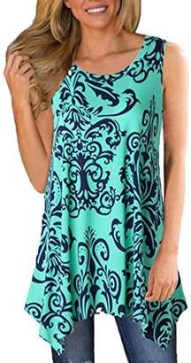 Tenworld Womens Casual Tops Asymmetrical Hem Boho Floral Print Sleeveless Tank Tops