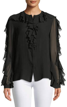 Giambattista Valli Long-Sleeve Ruffle Silk Chiffon Blouse