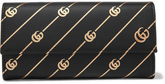 Gucci Printed Leather Continental Wallet - Black