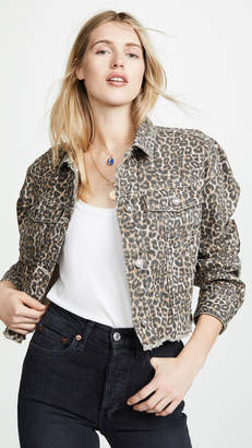 Free People Cheetah Print Denim Jacket