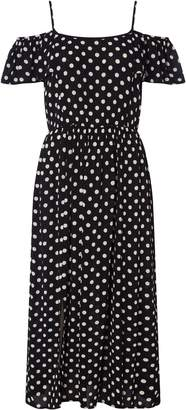 Dorothy Perkins Womens *Roman Originals Black Polka Dot Midi Skater Dress