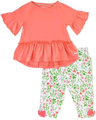 RuffleButts Ruffle Peplum Top w/ Strawberry Field Print Leggings, Size 3M-3T