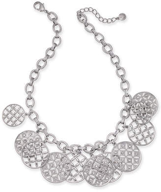 "Charter Club Silver-Tone Crystal Front Statement Necklace, 17"" + 2"" extender, Created for Macy's"