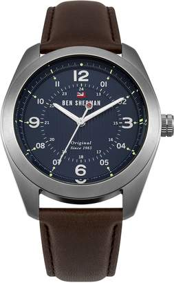 Ben Sherman Men's 'The Ronnie Social' Quartz Stainless Steel and Leather Casual Watch, Color:Brown (Model: WBS110UBR)