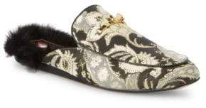 Ted Baker Floral Brocade Faux Fur Mules