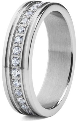 Crucible Stainless Steel Prong-Set Cubic Zirconia Eternity Ring (6mm)