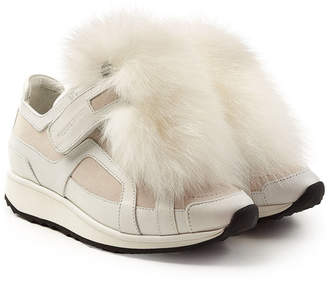 Pierre Hardy Platform Leather Sneakers with Fox Fur