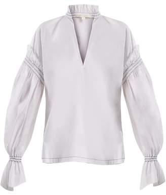 Jonathan Simkhai Ruffled Collar Cotton Poplin Blouse - Womens - White