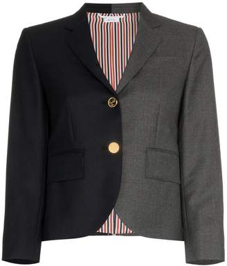 Thom Browne stripe detail two-tone silk blazer