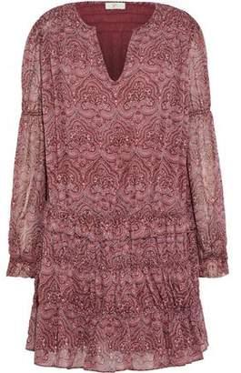 Joie Snow Shirred Printed Silk-Chiffon Mini Dress