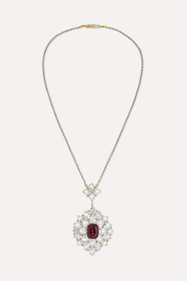 Buccellati 18-karat White And Yellow Gold, Garnet And Diamond Necklace - White gold