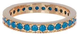Sterling Forever 14K Yellow Gold Plated Pave Synthetic Turquoise Stacking Band Ring