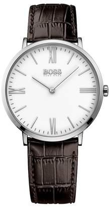 BOSS Men's Jackson Ultra Slim Croc Embossed Leather Strap Watch, 40mm