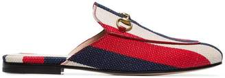 Gucci blue, red and white Princetown stripe linen loafers