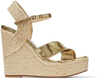 Jimmy Choo DELLENA 120 Metallic Lizard Print Leather Wedge with Rope Trim