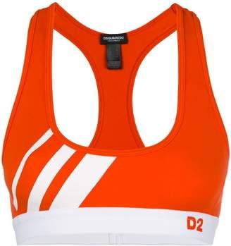 DSQUARED2 striped sports bra