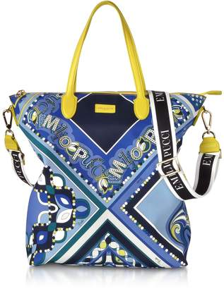 20788f1f49c Emilio Pucci Cobalt And Petrol Blue Printed Canvas N s Tote Bag