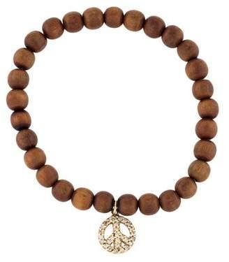 Sydney Evan 14K Diamond Peace Sign Wood Bracelet