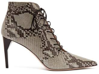 Miu Miu Python Effect Leather Ankle Boots - Womens - Grey