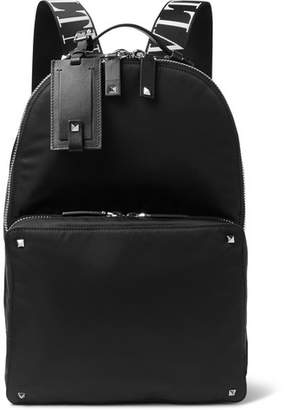 Valentino Logo-Jacquard Webbing And Leather-Trimmed Nylon Backpack
