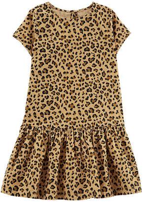 Carter's Leopard Corduroy Short Sleeve A-Line Print Dress - Preschool Girls