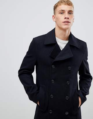 Solid peacoat in navy with wool mix
