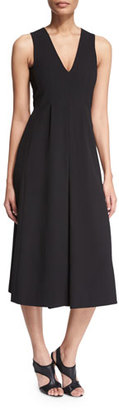 T by Alexander Wang Stretch Twill V-Neck Gaucho Jumpsuit, Black $450 thestylecure.com