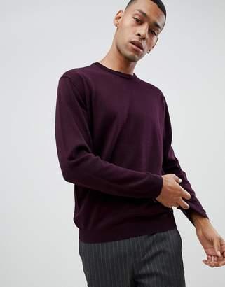 Moss Bros merino crew neck sweater in burgundy