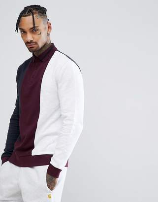 Asos Rugby Sweatshirt With Color Blocking And Tipped Ribs