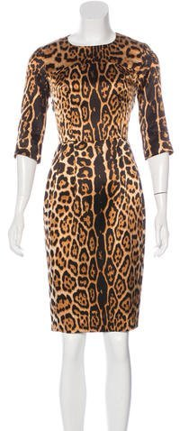 Saint Laurent Yves Saint Laurent Leopard Print Silk Dress