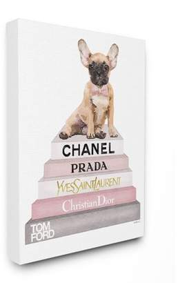 The Stupell Home Decor Collection Book Stack Dog Pink Grey Watercolor Illustration Stretched Canvas Wall Art, 16 x 1.5 x 20