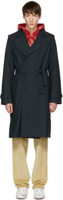 424 Navy Wool Suited Trench Coat