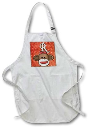 3dRose Cute Sock Monkey Girl Initial Letter R, Full Length Apron, 22 by 30-inch, Black, With Pockets