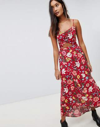Hollister floral maxi dress with cut out detail