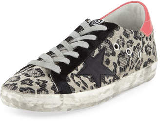 Golden Goose Superstar Metallic Leopard Low-Top Sneakers