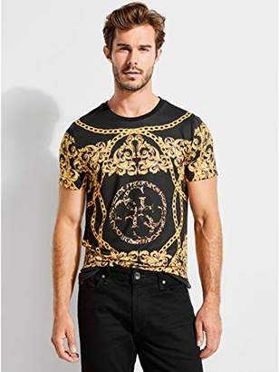 GUESS Men's Short Sleeve Baroque Graphic Crew Neck Shirt