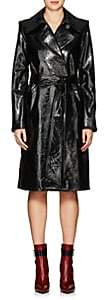 Helmut Lang Women's Wrinkled Patent Leather Trench Coat-Blk