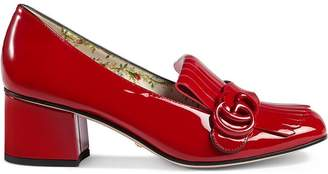 Gucci Marmont patent leather mid-heel pump