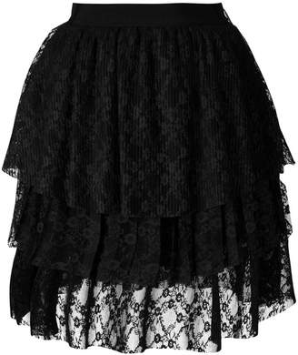 MSGM lace tulle layered skirt
