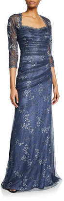 Rickie Freeman For Teri Jon 3/4-Sleeve Satin Gown with Tulle Overlay & Floral Embroidery