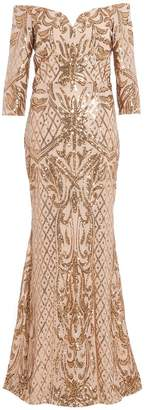 Quiz Gold Sequin Bardot Maxi Dress