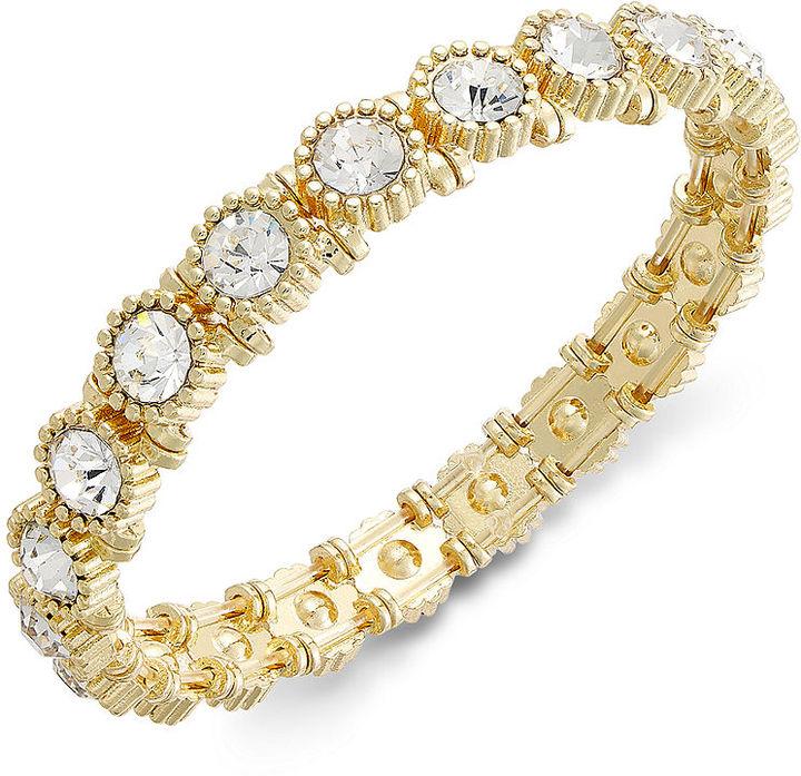 Charter Club Gold-Tone Crystal Stretch Bracelet